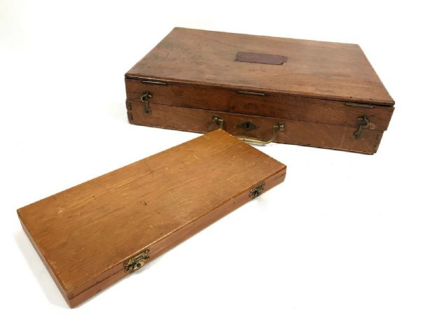 Antique Wooden Art Box Pair / Artist Equipment / Reeves & Sons / Paints